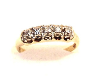 14K Yellow Gold Diamond Wedding Band or Anniversary Ring, Vintage, White Gold