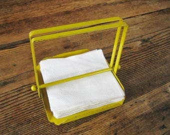 Metal Mid-Century Industrial Press Paper Napkin Holder Bright Yellow Chips at Corners