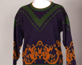 Vintage 80s 90s Men's Sweater - ATLANTIC TRADERS - green navy gold - Large