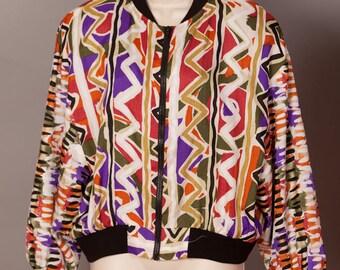Vintage 80s 90s Colorful Womens Windbreaker