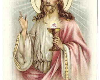 Jesus with Communion Chalice Antique French Holy Prayer Card, Christian Catholic, Goldprint