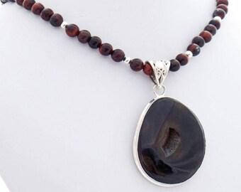 Agate Druzy Red Tiger Eye Natural Stone Designer Pendant Necklace