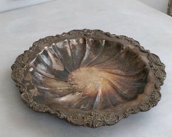 Vintage Fruit Bowl, Art Nouveau Decorative Bowl Silver Plate, Mid Century Trinket Bowl Centerpiece, Vanity Desk Dish Jewelry Plate Pot Plate