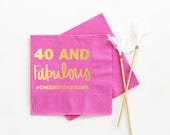 Personalized Birthday Napkins 40th Birthday Party Supplies 40 and Fabulous Cocktail Napkins Forty and Fabulous Ideas Custom Beverage Napkin
