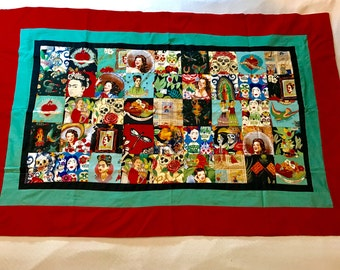 Frida Kahlo Quilt - Alexander Henry Fabrics, Red and Green Frida Wall Hanging, Frida Throw