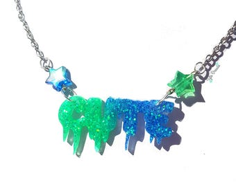 CUTE - blue/green - Resin Necklace Valentines Gift