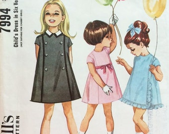 1960's Girls' Five Panel A-Line Variety Dress - Vintage McCalls Sewing Pattern  7994 - Size 3 - UNUSED