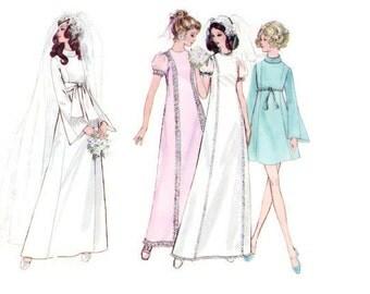 1970s BUTTERICK 5783 Bridal wedding dress bell sleeves Vintage Paper Pattern DIY wedding bust 32 1970s