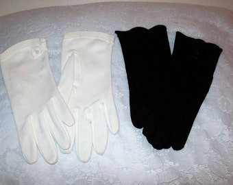 Vintage Ladies Black Dawnelle Gloves & White Hansen Wrist Gloves Size 7 Both Pairs for 5.20 USD
