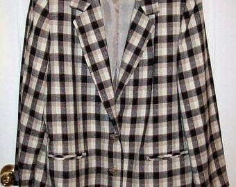 Vintage Ladies Black & Tan Plaid Blazer by Casablanca Size 16 Only 12 USD