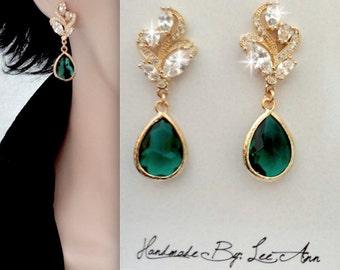 Gold Emerald earrings, Cubic Zirconia' s, Green Czech glass, Bridal earrings - May Birthstone, Elegant jewelry - Bridesmaids earrings
