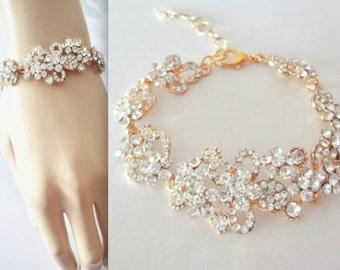 Gold crystal rhinestone bracelet, Brides bracelet, Gold wedding bracelet, Crystal statement bracelet ~ Bridal Jewelry, Wedding jewelry, MEG