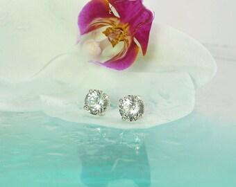 Stud Earrings, Gemstone Earrings, Gemstone Stud Earrings, Diamond alternative, Conflict Free Jewelry, White Gemstone Earrings, White Gem