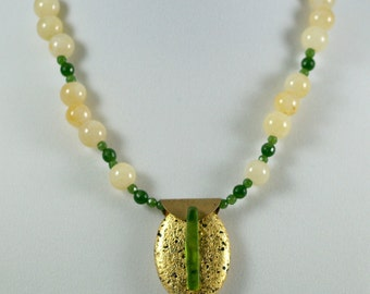 """Gold and Jade Pendant Necklace, Hand-Gilded 23-Karat Gold Leaf on Volcanic Stone, Yellow and Green Jade, Green Sea Glass, Gold Toggle, 18"""""""