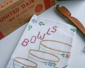 "Vintage Flour Sack Towel, ""Bowls"" Kitchen Towel, Hand Embroidery & Cross Stitch Design"