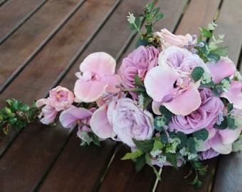 Teardrop, cascade bridal bouquet, wedding flowers, artificial wedding bouquet.  Garden roses and orchids. Pink, mauve, musk flowers.