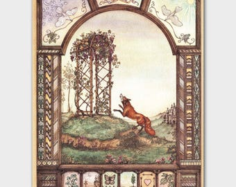 Fox and the Grapes, Stained Glass Print (Aesops Fables, Fairy Tale Decor) Vintage Fox Wall Art