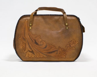 Tooled Leather Purse / Western Handbag, Large Distressed Tan / Brown