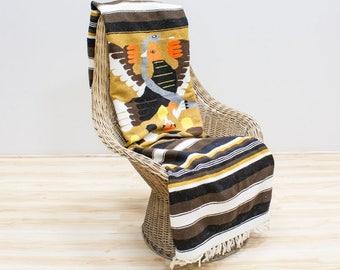 Mexican Flag Blanket / Aztec Eagle Snake Cactus, Brown Striped Vintage