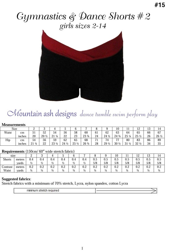 Dance Shorts Sewing Pattern Gymnastics and dance shorts 2 pdf sewing pattern girls sizes 2-14