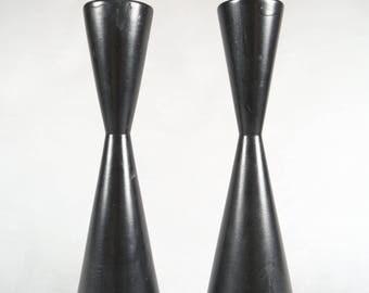 Danish Modern Hand Turned Wood Candlestick Holders, Lathe Turned