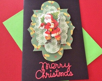 """3-D Christmas Card, 5"""" x 7"""", Black Cardstock, Santa Carrying a Tree, Green, Merry Christmas, Gem, Old Fashioned Stocking, Handmade"""