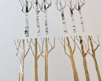Handmade, 4 Birch Tree, Embellishments, Birch, Brown with Gold, Sizzix, Scrapbook, Cards