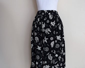 salvation armani vintage tribal skirt - black and white skirt - tribal print with elephants - elastic waistband - vintage size 11/12