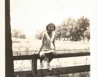 "Vintage Snapshot ""Somewhere On Road"" Woman Sitting On Fence Handwritten Caption Found Vernacular Photo"
