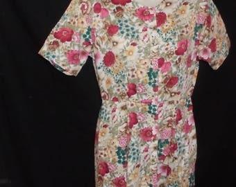 Vintage Eddie Bauer Dress Floral Flowers Button Down The Front Petite Size XS 90's Fashion