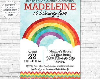 Rainbow Birthday Invitation - Watercolor Rainbow Invitation - Instantly Download and Personalize in Adobe Reader at home