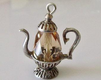 Silver Coffee Pot Gem Set Charm