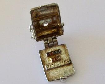 Silver Typewriter Engraved Opening Charm