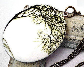 BENDING WILLOW - large vintage bronze locket with bending tree and long necklace.