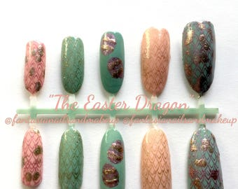 Dragon nails, Easter nails, Oval-stiletto-coffin fake nails, glue on-press on nails, scale-egg-pastel-game of thrones-nails, spring nails