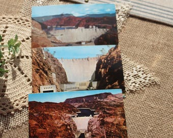 A set of 3 Hoover Dam and Lake Mead vintage postcards, HD