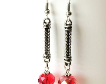 Red Earrings, Red Glass Earrings, Czech Glass, Long Drops, Red Crystal Earrings, Modern Earrings, Handmade