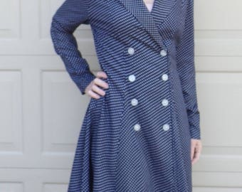 1990's NAVY BLUE polka dot DRESS double breasted fit and flare coatdress M
