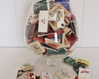 Vintage Matchbook Collection in Extra Large Brandy Glass - 70's 80's Matchbooks - Bar Decor