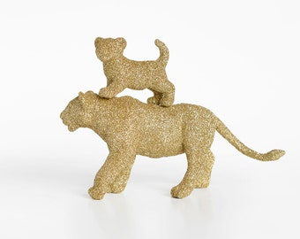 Lions, New Mom and Baby Set. Mothers Day Safari Gold Glitter Critter Lioness, Lion Cub. Unisex Baby Shower Gift, Nursery or Party Decoration