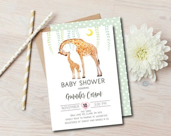 Giraffe Baby Shower Invitation, Baby boy Shower Invite, Printable, gender neutral, Baby Shower invite - DIY, blue green, safari, jungle