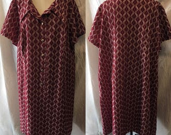 Comfy retro red patterned knit day dress 1940 large xlarge