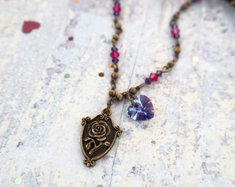 Enchanted Rose Cameo Brass Vintage Inspired Romantic Necklace -Beauty And The Beast-Wife Gift-Mom Gift-Girlfriend Gift-Mothers Day Gift