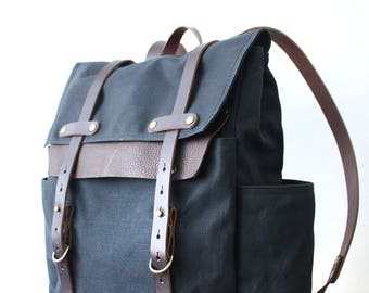 Fieldpack in Black, Waxed Canvas Backpack, Canvas and Leather Backpack, Water Resistant Backpack