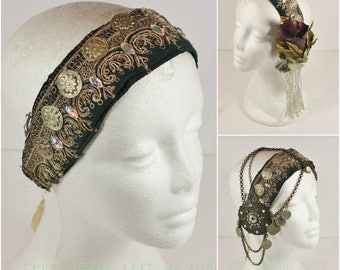 Vintage Sari Headdress Base- Dark Teal and Gold Metallic Silk with AB Sparkle and Tribal Accent Headpeice