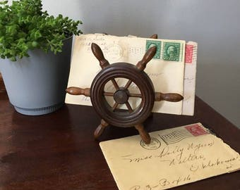 Vintage Wooden Ship's Wheel Letter Holder