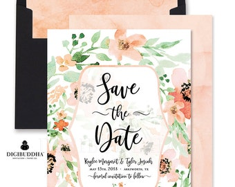 Floral Save the Date Custom Announcement DIY Watercolor Spring Save the Date Watercolor Floral Wedding Announcement Save the Date - Kaylee