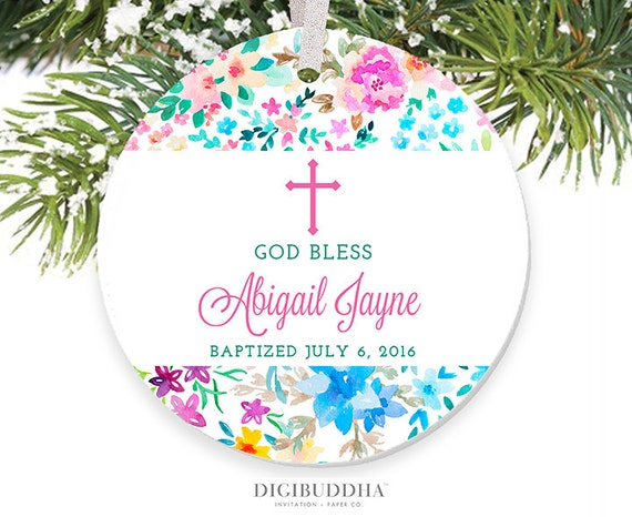 baptism ornament god bless baby girl ornament personalized