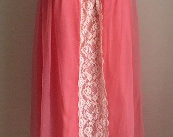 Vintage 1960s Val Made Bright Coral Nylon Nightie 8 10 12