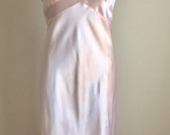 Vintage 1930s Pale Pink Satin Full Length Nightgown Hollywood Small 4 6